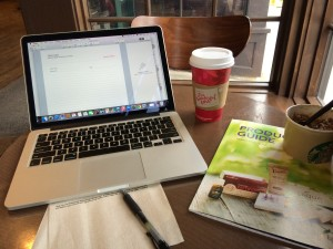 Setting up shop at Starbuck's....